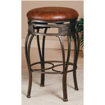 Hillsdale Furniture Backless Montello Swivel Counter or Bar Height Stool in Old Steel Finish