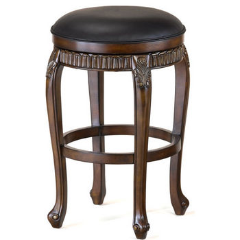 "Hillsdale - Backless Fleur De Lis Swivel Counter or Bar Height Stool, 19"" W x 19"" D x 24"" H or 30"" H, Cherry"