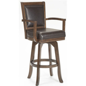 "Hillsdale Ambassador Swivel Bar Stool, 22-3/4"" W x 22"" D x 46-1/2"" H, Rich Cherry"