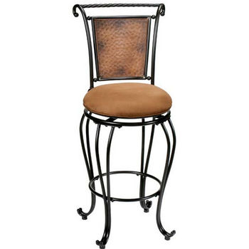 Hillsdale Furniture Milan Counter or Bar Height Stool, Black/Copper Accent
