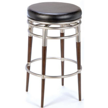 Hillsdale - Salem Swivel Counter or Bar Height Stool, Brushed Chrome