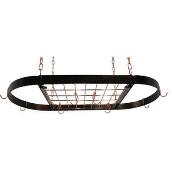 Hammered Copper Medium Oval Hanging Pot Rack
