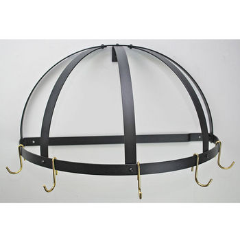 Rogar Gourmet Pot Rack: Wall Mounted Half Dome without Grid