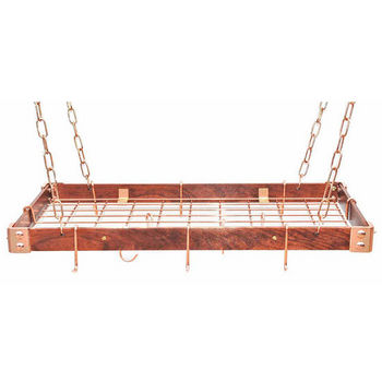 Rogar Gourmet Collection KD Wood / Metal Pot Racks with Grid