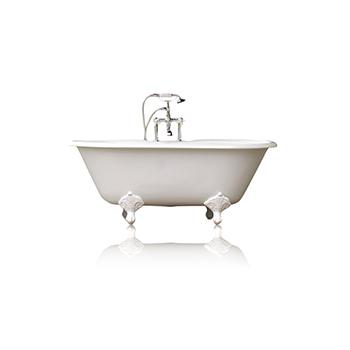 "WaterMark Fixtures 60"" Antique Inspired Cast Iron Porcelain Clawfoot Bathtub, White Double Slipper Bathtub Package Original"