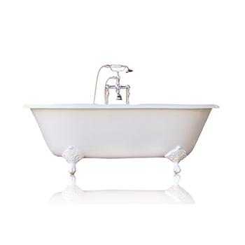 "WaterMark Fixtures 66"" Antique Inspired Cast Iron Porcelain Clawfoot Bathtub, White Double Slipper Bathtub Package Original"