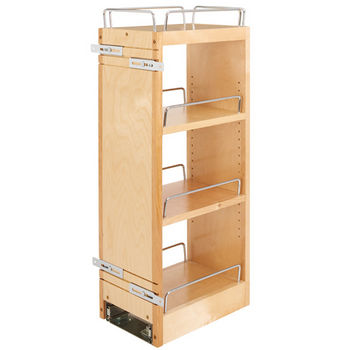 "Rev-A-Shelf Wall Cabinet Pullout Organizer, 8""W x 10-3/4""D x 26-1/8""H, with Full-Extension Ball-Bearing Soft Close Slides"