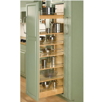 Rev A Shelf Tall Wood Pull Out Pantry 5 W X 58 1 2 H With 6 Moveable Shelves Min Cab Opening 8 22 4 D