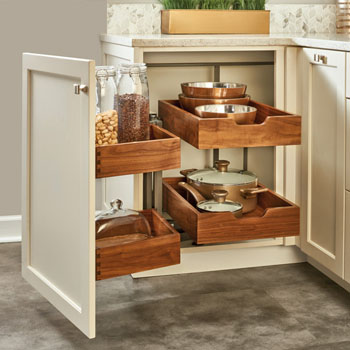 Pullout Walnut Two Tier Bottom Mount Blind Corner Organizer With Four Drawers And Blumotion Soft Close Slides By Rev A Shelf Kitchensource Com