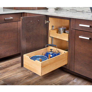 """Rev-A-Shelf Base Cabinet Pullout Pilaster System Kit for 18"""" Door Drawer Cabinet, Silver Pilasters, 16-5/16""""W x 21-5/8""""D x 21-1/4""""H"""