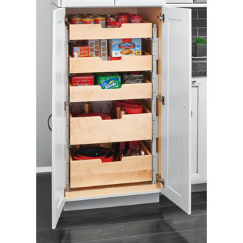 Kitchen Storage Base Cabinet Pullout Pilaster Stackable Drawer With Blum S Tandem Heavy Duty Slides With Blumotion Soft Close For 18 Or 24 Cabinets By Rev A Shelf Kitchensource Com