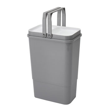 "Rev-A-Shelf Single Door Mount Vanity Waste Container, 8 Quart (2 Gallon) Metallic Silver Bin with Maple Frame, for 30"" Vanity Base Cabinets"