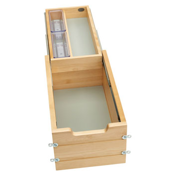 """Rev-A-Shelf Tiered Double Vanity Drawer for 12"""" Frameless Cabinet, with BLUMOTION Soft-Close Slides, 10-1/2""""W x 18-11/16""""D x 8""""H"""