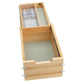 """Rev-A-Shelf Tiered Double Vanity Drawer for 15"""" Frameless Cabinet, with BLUMOTION Soft-Close Slides, 13-1/2""""W x 18-11/16""""D x 8""""H"""