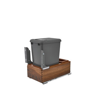 Rev-A-Shelf Single 35 Quart (8.75 Gallon) Waste Bin Pullout, Orion Gray Can, Walnut Wood Bottom Mount with Blum Soft-Close Slides