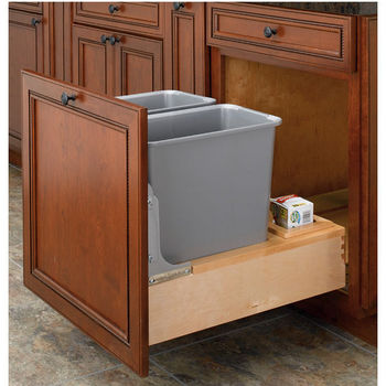 Rev A Shelf Double 30 Quart 7 5 Gallon Waste Bins W Motion Slides Min Cabinet Opening 20 3 8 Wide