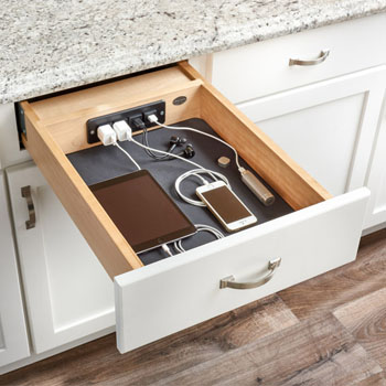 Charging Drawer With 2 Electrical Outlets 2 Usb Charging Ports Power Cord And Optional Blumotion Soft Close Slides For 18 Base Cabinet By Rev A Shelf Kitchensource Com