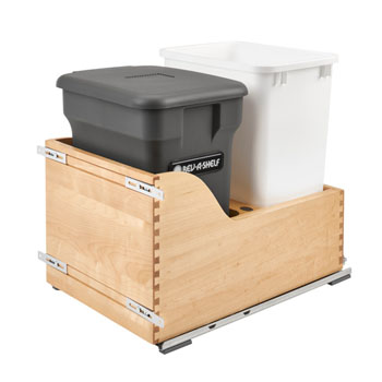 Rev-A-Shelf Double Soft-Close Bottom Mount Recycle Center With (1) Orion Gray Compo+ Container and (1) 35 Qt. White Bin, Wood Bottom Mount with Blum Slides