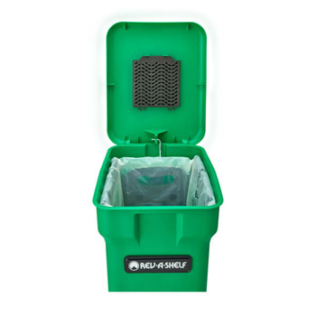 Rev-A-Shelf Single Green Compost Bin Pull-Out with Rear Storage, White Wire Bottom Mount with Ball Bearing Slides