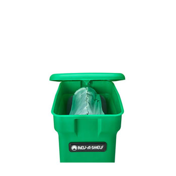 Rev-A-Shelf Single Green Compost Bin Pull-Out with Rear Storage, Wood Bottom Mount with Blum Soft-Close Slides