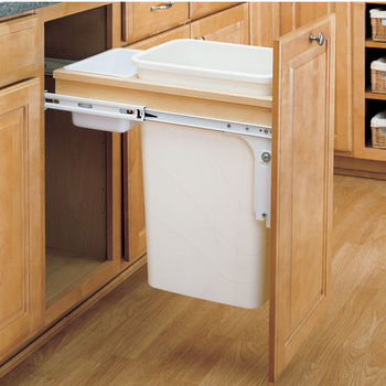 Rev A Shelf Top Mount Pull Out Waste Bins For Framed Cabinet 35 And 50 Quarts 8 75 And 12 5 Gallons Kitchensource Com