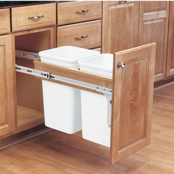 Rev A Shelf Double Pull Out Waste Bins For Framed Cabinet 27 50 Quart 6 75 12 5 Gallon Kitchensource Com