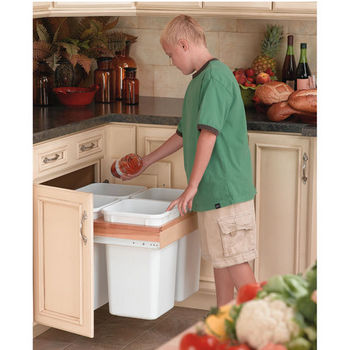 Four 27 Quart Pull-Out Waste Containers