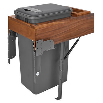 Rev-A-Shelf Single 50 Quart (12.5 Gallon) Waste Bin Pullout, Orion Gray Can, Walnut Wood Top-Mount with Rev-A-Motion Slides