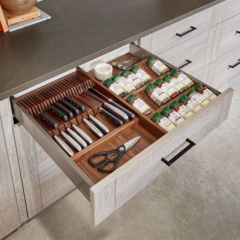 Rev-A-Shelf Wood Spice Kitchen Drawer Insert, Walnut