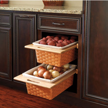 Baskets - Pull-Out Chrome Wire or Wicker Storage Baskets for Base ...