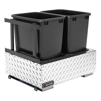 Rev-A-Shelf Double Majestic Chassis with Soft-Close Assist for 35 or 50 Quart Waste Containers (Not Included), Aluminum Diamond Plate