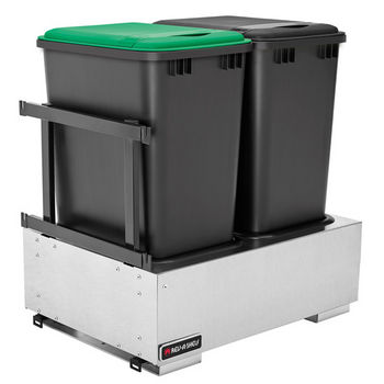 Rev-A-Shelf Double Majestic Chassis with Soft-Close Assist for 35 or 50 Quart Waste Containers (Not Included), Stainless Steel