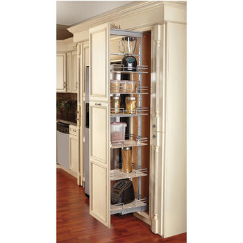 Soft Close Pull Out Pantry With Maple Shelves For Tall Kitchen Cabinet
