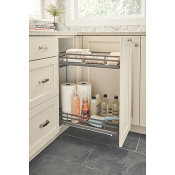 "Rev-A-Shelf Fog Series Two-Tiered Flat Wire Base Organizer, for 12"" Base Cabinet, Orion Gray, with BLUMOTION Full Extension Soft-Close Slides, 9-1/2""W x 22-3/8""D x 24-1/2""H"