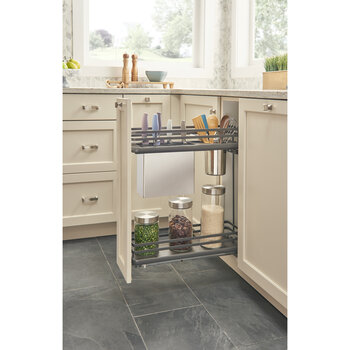 "Rev-A-Shelf Fog Series Two-Tiered Flat Wire Base Organizer, with Knife Block/ Bins/ Shelf for 9"" Base Cabinet, Orion Gray, with BLUMOTION Full Extension Soft-Close Slides, 6-1/2""W x 22-3/8""D x 24-1/2""H"