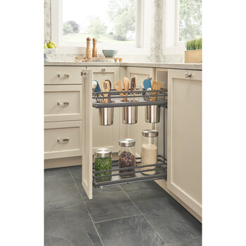 """Rev-A-Shelf Fog Series Two-Tiered Flat Wire Base Organizer, with 3 Bins for 9"""" Base Cabinet, Orion Gray, with BLUMOTION Full Extension Soft-Close Slides, 6-1/2""""W x 22-3/8""""D x 24-1/2""""H"""