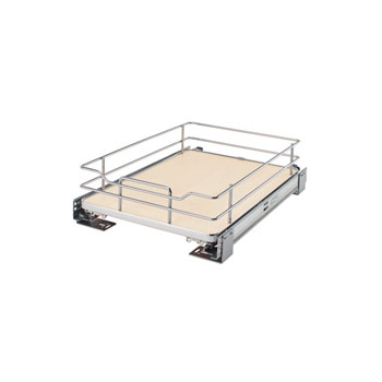 "Rev-A-Shelf ""Premiere"" Base Cabinet Pullout Shelf/ Basket with Maple Solid Bottom, with Blum Full-Extension Soft-Close Slides"