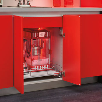 "Rev-A-Shelf ""Premiere"" Base Cabinet Pullout Shelf/ Basket with Gray Solid Bottom, with Blum Full-Extension Soft-Close Slides"