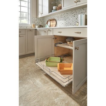 "Rev-A-Shelf ""Premiere"" Base Cabinet Pullout Shelf/ Basket with Maple Solid Bottom, 32-3/8""W x 21-3/4""D x 5-5/8""H, with Blum Full-Extension Soft-Close Slides"
