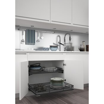 Premiere Base Cabinet Pullout Shelf Basket Orion Gray Flat Wire