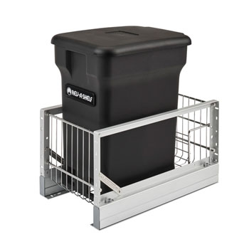 Rev-A-Shelf Single Black Compo+ Bin Pull-Out with Rear Storage, Aluminum Bottom Mount with Soft-Close Slides