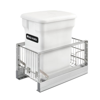 Rev-A-Shelf Single White Compo+ Bin Pull-Out with Rear Storage, Aluminum Bottom Mount with Soft-Close Slides