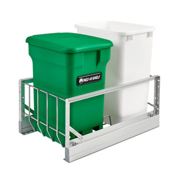 Rev-A-Shelf Double Soft-Close Bottom Mount Recycle Center With (1) Green Compo+ Container and (1) 35 Qt. White Bin, Pull-Out Aluminum Carriage