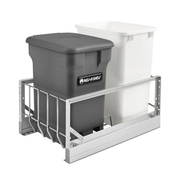 Rev-A-Shelf Double Soft-Close Bottom Mount Recycle Center With (1) Orion Gray Compo+ Container and (1) 35 Qt. White Bin, Pull-Out Aluminum Carriage