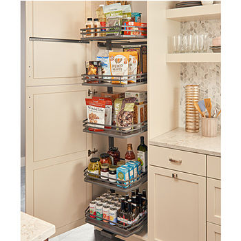 """Rev-A-Shelf Fog Series Swing Out Flat Wire Pantry with 5 Shelves, Orion Gray, for 18"""" Cabinet, 14-1/4""""W x 18-1/2""""D x 74-1/16""""H"""
