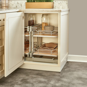 Rev-A-Shelf Pullout Soft-Close 2-Tier Wire Bottom Mount Blind Corner Organizer, with Maple Solid Bottom