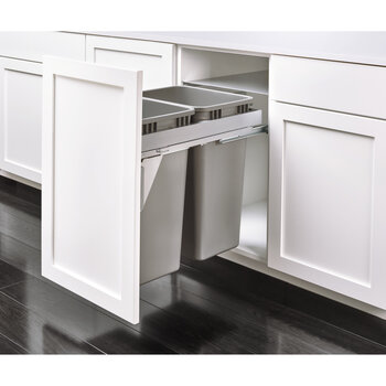 Top Mount Double Trash Pullout With 35 Quart 8 75 Gallon Or 50 Quart 12 5 Gallon Gray Cans With Steel Lid For Frameless Cabinet With Over Travel Grass Slides By Rev A Shelf Kitchensource Com
