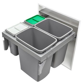 "Rev-A-Shelf Quad Top Mount Waste Container Pullouts with Over-Travel GRASS Soft-Close Slides, Double 35 Quart (8.75 Gallon) & Double 8 Quart (2 Gallon) Metallic Silver Bins, for 24"" Full Access Base Cabinets"