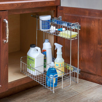Rev A Shelf Chrome Wire Reversible Undersink Pullout Cleaning Organizer Min Cab Opening 9 7 8 W X 16 1 D