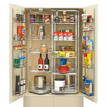 Rev-A-Shelf Chef's Roll-out Pantry with Door Storage, Chrome